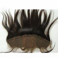 Cabello brasileño sin procesar Silky Siled Seda Base de lace frontal frontal nudos Base de seda barata Oído a oreja Cierre frontal de encaje completo 13x4