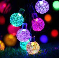 kutusu Düğün Noel Partisi Festivali Açık Kapalı Dekorasyon 6.5M 30 LED Kristal top Güneş Enerjili Işıklar LED Peri Işık
