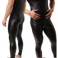 Высококачественные мужские черные искусственные патентные кожаные кожаные брюки карандаша PU растягивающиеся леггинсы мужчины сексуальные клубные одежды Bodywear брюки 201118