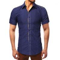 KLV T-shirts Hommes Mode Solide Pathwork Style Design Smart Casual Shirts Tops Chemisière Pure Chemise Black Lapel1