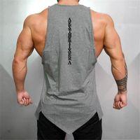 Muscleguys Gyms Stringer Roupas Bodybuilding Bodybuilding Homens Fitness Singlet sem mangas Camisa Sólida Algodão Undershirt Muscle Vest1