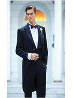 جديد أسود الرجال الصباح دعوى الذيل سترة طويلة سترة الزفاف العريس أفضل رجل حزب البدلات الرسمية