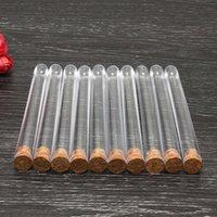50 قطعة / الحزمة 20 ملليلتر أنابيب اختبار البلاستيك شفافة مع سدادات الفلين حلوى كبسولة فارغة المعطرة الشاي أنابيب زجاجة 150x16mm q bbyruy