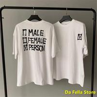 Beyaz Vetementler Kene Keşfi T-shirt Erkek Kadın Erkek Kadın Baskı Vetements T-Shirt Yaka Nakış VTM VTM Tee Tops Tee X1214