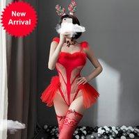 Sexy Fischnetz Bodysuit für Frauen Weihnachten Rot Bodystocking Set Cosplay Kostüme Aushöhlen Outfit Erotische Wäsche mit Luft