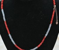 Nouveau 2x4mm Faceté Aquamarine Red Jade Rougeelle Perles De Gemstone Collier 18 ''