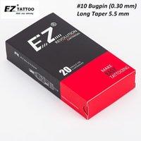 EZ Revolution Tattoo Игольчатый картридж # 10 Bugpin длинный конус изогнутой иглы татуировки Magnum для картриджа татуировки машина 20 шт. / Коробка 201123