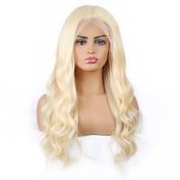 MeetU 13 * 1 Transparente Spitze Frontal Human Hair Perücken Front Perücke Körper Gerade Brasilianischer Peruaner Für Frauen Alle Altersgruppen 8-28 Zoll 613 Blonde Farbe
