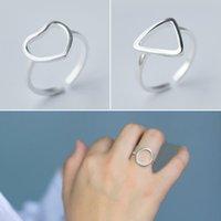 النحاس أفضل صديق جديد أزياء الفضة اللون مثلث دائرة القلب شكل حلقات الزفاف للمرأة مجوهرات هدية