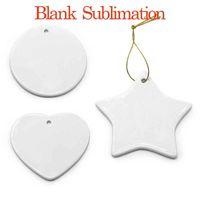Pingentes de cerâmica de sublimação em branco enfeites de Natal criativo DIY transferência de calor impressão cerâmica ornamento coração rodada pingentes