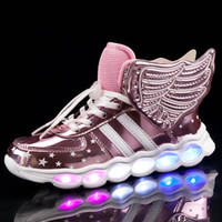 Chaussures d'enfants roses lumière LED lumineuses chaussures garçons filles USB Charging Sport Casual LED USB Wing Wing Wing Kidowing Sneakers