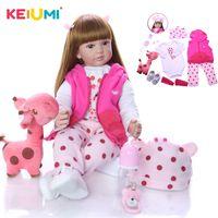 Keiumi 60 cm ragazza neonato realistico reborn bambola bambino bambola corpo di stoffa 24 pollici moda reborn giocattolo boneca per bambino regali di compleanno LJ201031