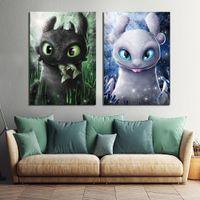 Photos de dessin animé d'art numérique 2 pièces Comment former votre dragon The Hidden World Film Poster Peintures Toile Art pour la décoration murale T200118