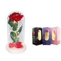 Rose dure toujours avec des lumières LED dans le dôme de verre cadeau créatif pour l'anniversaire de mariage de la Saint-Valentin