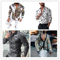 2021 Primavera Digital Stampato Camicie da uomo Moda Camicie Bohemian Homme V Collo Floral Tops Casual Mens Camicie da collo con risvolto