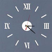 DIY الفن ملصقات الحائط على مدار الساعة الأرقام الرومانية شخصية الصمت أكريليك المطبخ غرفة المعيشة تزيين الساعات أفضل الباعة جديد 7 5ld f2