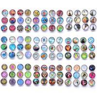 10 pçs lote cores misturadas padrão 12mm vidro encaixoteira botão de jóias facetadas de vidro encaixe encaixar brincos pulseira pulseira h jlldch