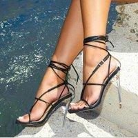 샌들 여성 신발 섹시 크로프 스트리프 헤이트 발 뒤꿈치 11cm 발 뒤꿈치 검투사 통 여름 골드 블랙