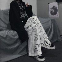Stile coreano di Houzhou Pantaloni a gamba larga Stampa dei cartoni animati Pantaloni Harajuku Donne Streetwear Autunno Moda Streetwear Sweatspants Donne Y1121