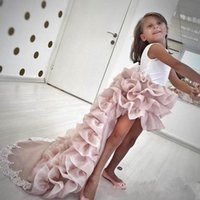 Pink Tierd Ruffles Girls Pageant Dresses 2017 Newly High Low Jewel Neck Long Train Formal Party Wears Bow Sash Back Flower Girl Dresses