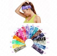 Yoga Band Hair Tie-Dye Хлопок Печатные Оголовья Упругие повязки Женщины Девушки Спортивные Пот Долсы для волос Headword Retro Turban Headwear 2021