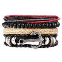 Charme Armbänder Boho Schmuck Tibet Stein Feder Leder Armband Augenfisch Charms Perlen für Männer Vintage Punk Wrap Armband