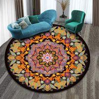 Halılar 3D Mandala Etnik Tarzı Halı Retro Oturma Odası Masa Ev Bohemia Yuvarlak Halı Kat Mat Yatak Odası Yumuşak Daire Halıları