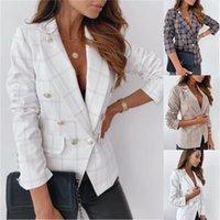 Bouton Dames Plaid Blazer Femme Elegance Femme Veste Office Lady Formel Femmes Blazers Femme Blazer Automne mince (pas de doublure) x1214