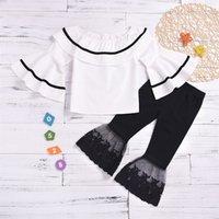 Kinder Mädchen Rüschen Outfits Puppe Kragen Splice Tops Flare Sleeve Shirts Säuglings Baby Mädchen Beiläufige Kleidung Spitze Elastische Hose 2-6t 402 K2