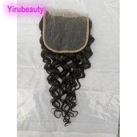 Fermeture de dentelle 5x5 péruvienne avec des cheveux de bébé vague profondes Kinky Curly Waigre de l'eau vague Lâche 5 * 5 Fermeture Partie libre 100% Cheveux humains Remy