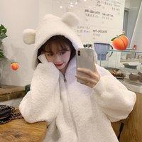 Lucyever Tatlı Küçük Ayı Kulak Kürklü Kapşonlu Ceket 2021 Kış Sıcak Tutmak Beyaz Peluş Ceket Kadın Kore Tarzı Eğlence Sweatshirt1