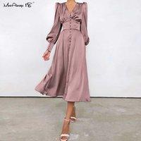 Mnealways18 manches bouffantes printemps satin robe longue robe femmes v-cou de jardin robe plissée robe marron élégante robe maillante femme dames chics froncé