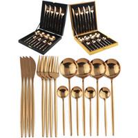 16 pcs Dinnerware Set Rose Gold Cutlery Set 18/10 Aço Inoxidável De Aço Inoxidável Faca De Faca De Faca Colher Set Silverware com caixa de presente T200107