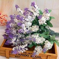 10 головок романтический прованс лаванды шелковые искусственные цветы фиолетовый букет пластиковый поддельный цветок белый для домашнего свадебного украшения