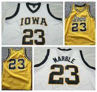 Ucuz Özel # 23 Roy Mermer Iowa Koleji Basketbol Jersey Erkekler Hepsi Dikişli Beyaz Sarı Herhangi Boyutu 2XS-5XL Adı veya Number Ücretsiz Kargo