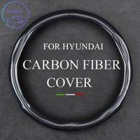 Крышка из углеродного волокна рулевого колеса для Hyundai I10 I20 IX35 ELANTRA KONA SONATA Universal 37-38CM 15-дюймовая кожаная отделка интерьеров