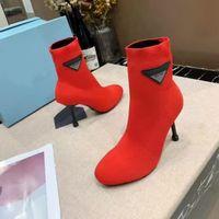 Stivali tacco alto Stivaletti sexy della caviglia della donna in autunno e inverno stivali elastici a maglia Autunno e stivali da tacco sottile Stivali da donna con tacco alto con scatola
