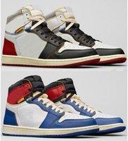 جودة عالية un la x 1 عالية og الأسود تو أحذية كرة السلة الأحمر الأزرق الرجال النساء 1S أحذية رياضية مع مربع