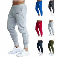 New Mens Pant Slim Fit Cousssuit Sport Sport High Skinny Elastic Jogging Joggers Фитнес тренировки повседневные мужские спортивные штаны брюки SH190915