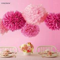 Fleurs décoratives couronnes suspendues papier de papier de tissu décoration fleur pom ballon de rose 15cm guirlande baby douche fête mariage artisanat bricolage fournitures1