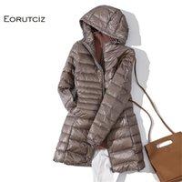 Eorutciz الشتاء طويل أسفل معطف المرأة زائد الحجم 7xl خفيفة جدا الدافئة هوديي سترة خمر أسود الخريف بطة أسفل معطف LM171 200923