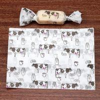 500 pçs / lote dos desenhos animados animais leite vaca festa de ordenha nougat embrulhar papel baptismo açúcar embalagem de doces presente branco torcendo paper1