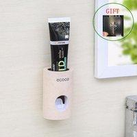 Titular automático del dispensador de pasta de dientes Accesorios de baño Accesorios de pasta de dientes SPEEZER DE LA PARED A prueba de polvo de pared 5pcs / set Accesorios de baño