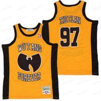 Billig Großhandel Wu Tang für immer # 97 Der Clan Basketball-Trikots Nähte Hip Hop Rap Hemden Herren Gelb Größe S-3XL Kostenloser Versand Top Qualität