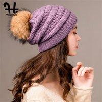 Furtalk الشتاء قبعة قبعة المرأة الدافئة مكتنزة محبوك slouchy قبعة قبعة القبعات السيدات الفراء الحقيقي pompom قبعة أنثى الشتاء كاب جديد 201215