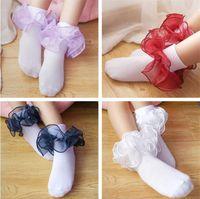 Baby Kids Socks Meninas Cotton Lace tridimensional plissado Sock infantil da criança meias vestuário infantil de Natal Presentes hot moda nova