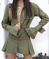 Bayan Moda Serin Camo Baskı Elbise Erkek Arkadaşı Stil Mini Elbise Flare Sleeve Pileli Kısa Gün Streetwear