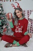 Femmes Pantalon de deux pièces Noël Modèle de lettre à manches longues à manches longues à rayures imprimées Couture à la maison Pyjamas Set Femme Home Vêtements Vente chaude