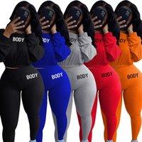 Kadınlar 2 Parça Set Güz Kış Giysileri Koşu Jogger Kazak Pantolon Sweatustan Kapüşonlu Tayt Kıyafetler Kazak Bodysuits Spor 0627
