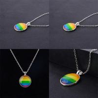 Männer Frauen Gay Pride Choker Halskette Rainbow Flagge Lesben LGBT Liebe ist Liebe Stolz Glas Anhänger Halsketten Einzigartiger Schmuck 19 N2